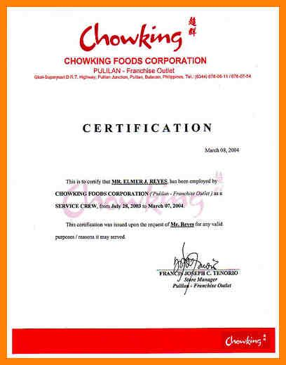 certification letter philippines 7 sle of certification of employment hvac resumed