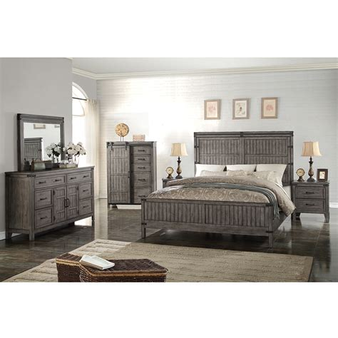 Panel Wood Agya 6pc legends furniture zstr 7700 6pc k storehouse 6 king bedroom set in distressed smoked grey