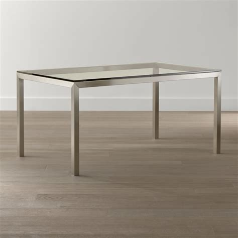 Crate And Barrel Glass Dining Table Clear Glass Top Stainless Steel Base Parsons Dining