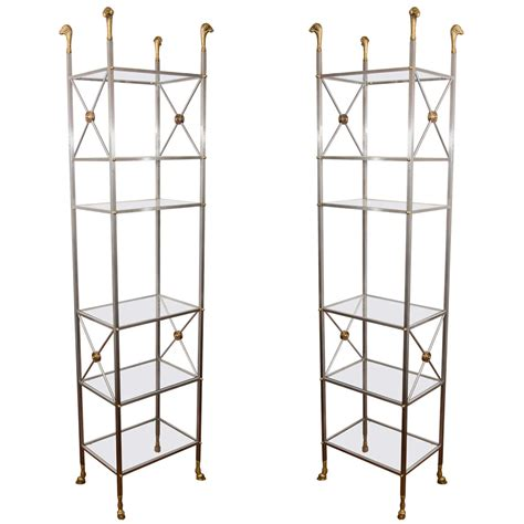 Etagere Nickel by Pair Of Brushed Nickel And Brass Etageres At 1stdibs