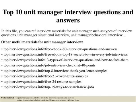 top  unit manager interview questions  answers