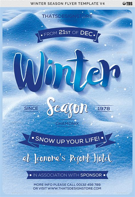 Winter Season Flyer Template V4 By Thatsdesign Graphicriver Winter Flyer Template