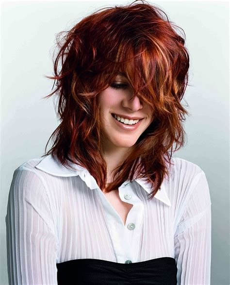 red mid length hairstyle mature red and blonde hair ideas fashion trends styles for 2014