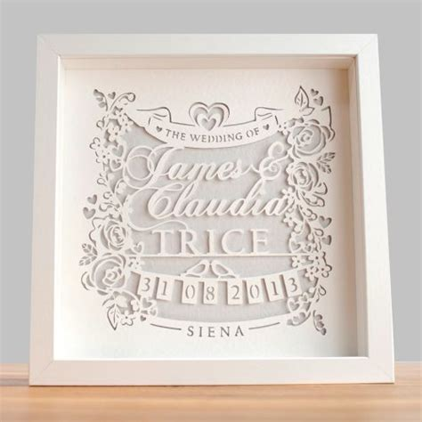 wedding papercut template personalised classic wedding paper cut framed gwag