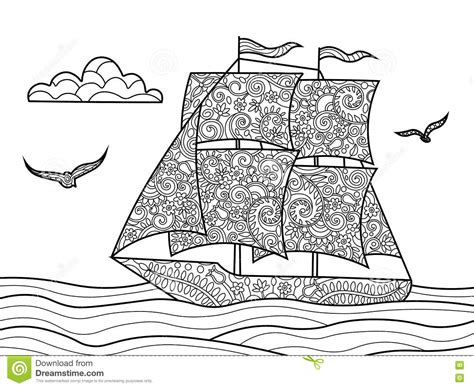 coloring book for relaxation sailing ships books sailing ship coloring book for adults vector stock vector