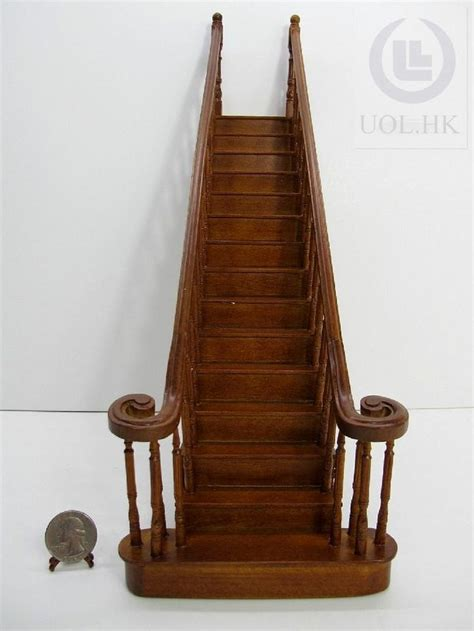 dolls house staircases miniature 1 12 scale doll house wooden straight staircase finished in walnut