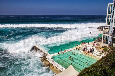 most famous beach in the world bondi beach baths australia mar 16th people relaxing