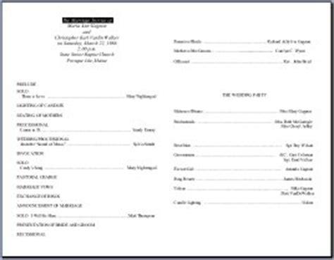 wedding bulletin template standard wedding bulletin template