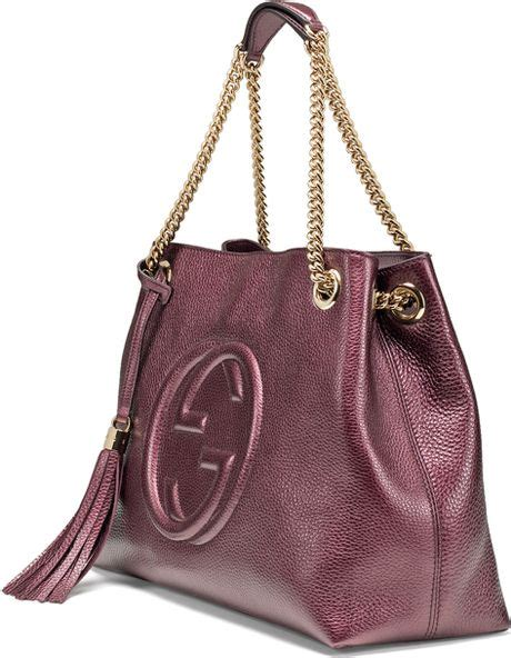 Gucci Soho Leather Backpack Ss17 18 gucci soho metallic leather shoulder bag in burgundy lyst