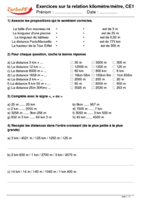 Exercices sur la relation kilomètre/mètre, CE1
