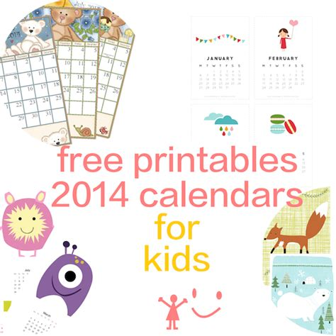 kid friendly printable monthly calendar calendar