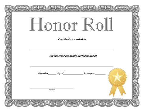 honor certificate template honor roll certificate template how to craft a