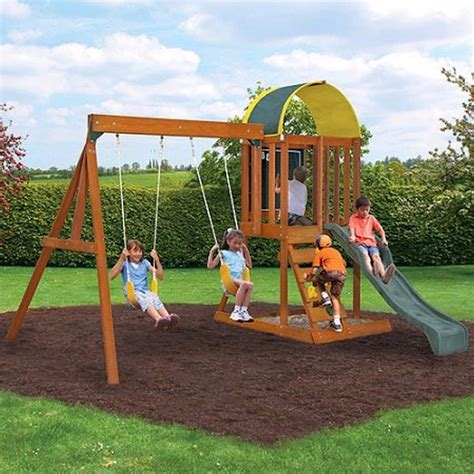 backyard wooden swing set wooden outdoor swing set playground swingset playset kids