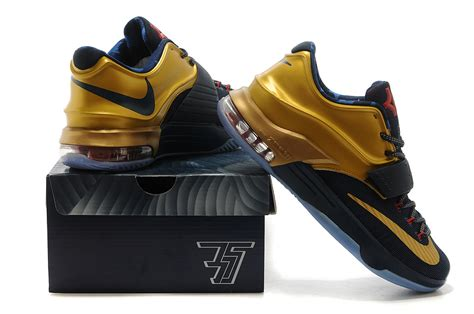 buy real nike kevin durant 7 black gold basketball shoes