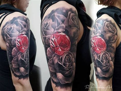 diamond tattoo on shoulder 31 best realistic diamond and rose tattoo images on