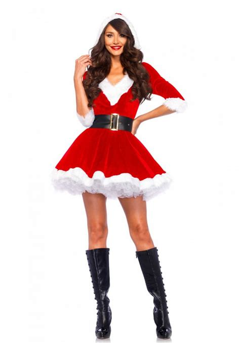 Mini Dress Mrs mrs claus hooded dress costume santa costumes