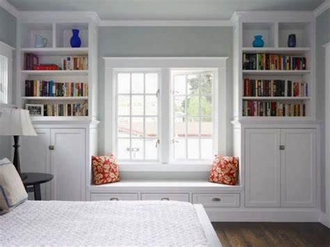 build window seat between bookcases blissful bedrooms