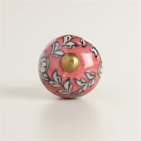 World Market Knobs by Pink Floral Mini Ceramic Knobs Set Of 2 World Market