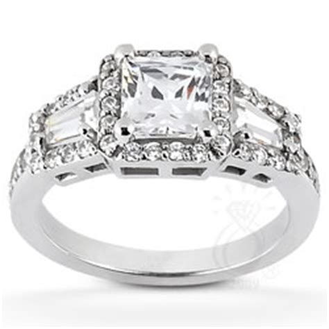princess cut and tapered baguette three ring with