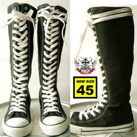 pattern lace up knee high sneaker boots japan punk lace up knee high canvas sneaker black boots ebay
