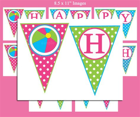 free printable birthday bunting banner instant download happy birthday banner printable pool