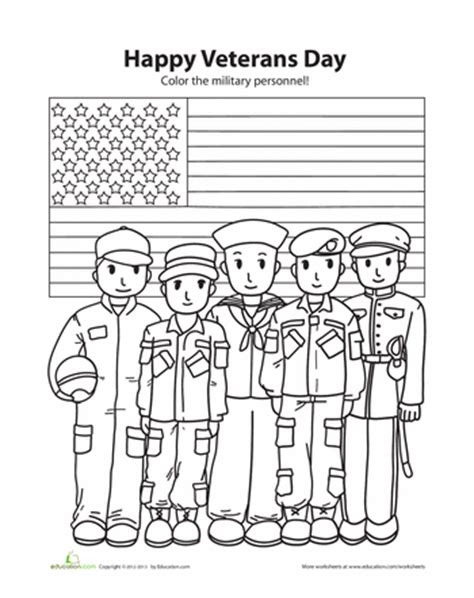 veterans day coloring page to print happy veterans day worksheets school and social studies
