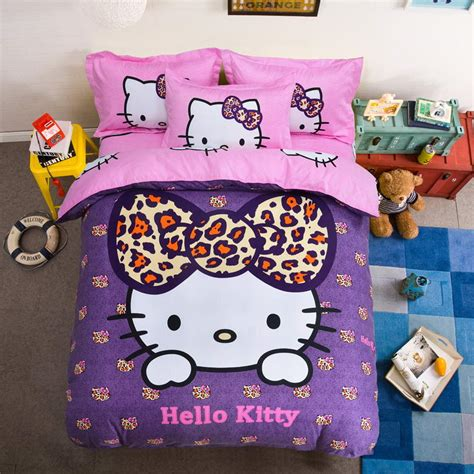 bedcover hellokitty cotton bedding sets hello 4pcs bed set duvet