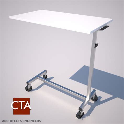 rolling bed table bedside rolling table beds 3d model