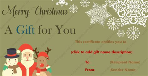 christmas gift template santa frosty and rudolf design