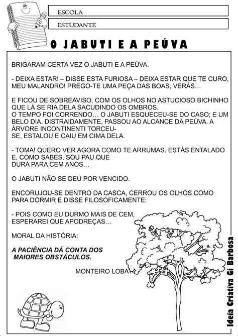 Atividade Texto Interpretação Fábula de Monteiro Lobato O