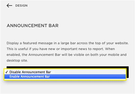 top bar website adding an announcement bar help