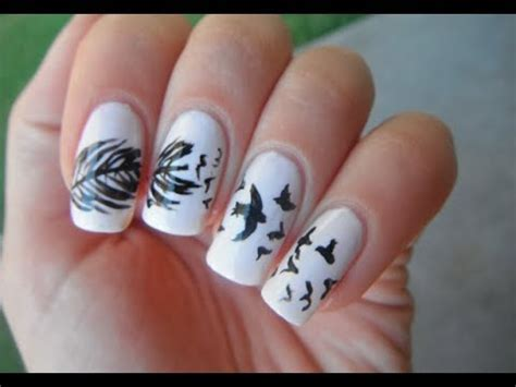 nail art bird tutorial birds and feather nail art tutorial youtube