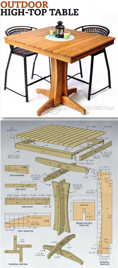 outdoor table plans woodworking 25 best ideas about high top tables on high