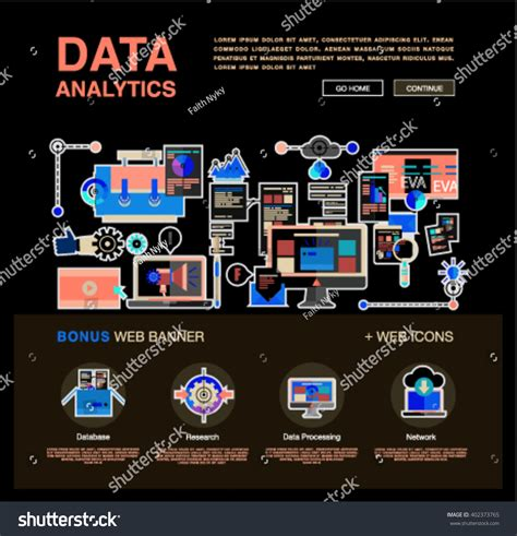 One Page Data Analytics Web Design Stock Vector 402373765 Data Analytics Website Template