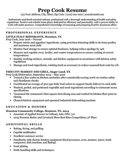 sample resume of a cook commis cook resume sample by chef resume