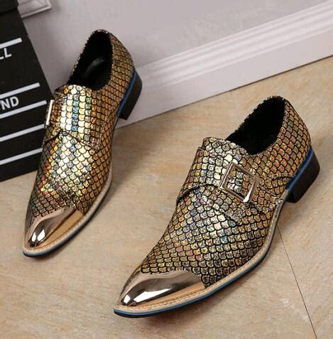 Wedding Shoes Mens by Metallic Wedding Shoes Genuine Leather Mens Gold Dress