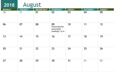 Out Of Office Calendar Template