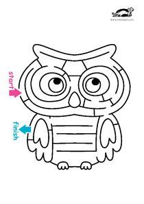 printable owl maze krokotak print printables for kids