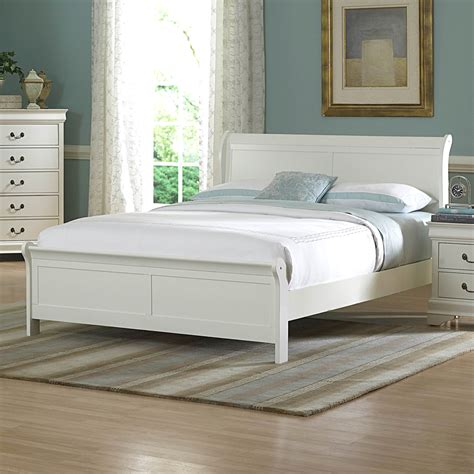 white sleigh bed shop homelegance marianne white queen sleigh bed at lowes com