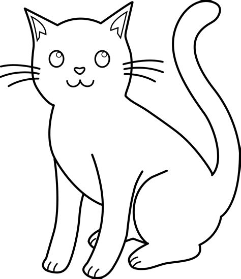cat drawing template black and white cat lineart free clip