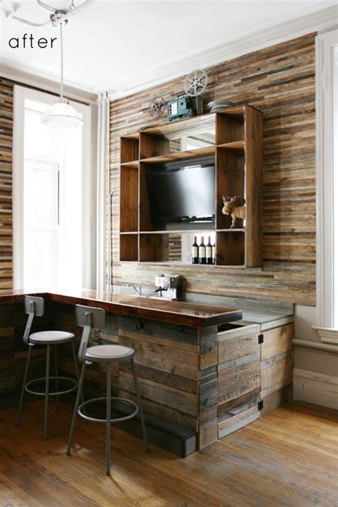 Redone Kitchen Cabinets by Before Amp After Salvaged Wood Bar Design Sponge