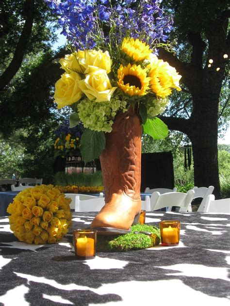 cowboy boot centerpiece i do bbq pinterest