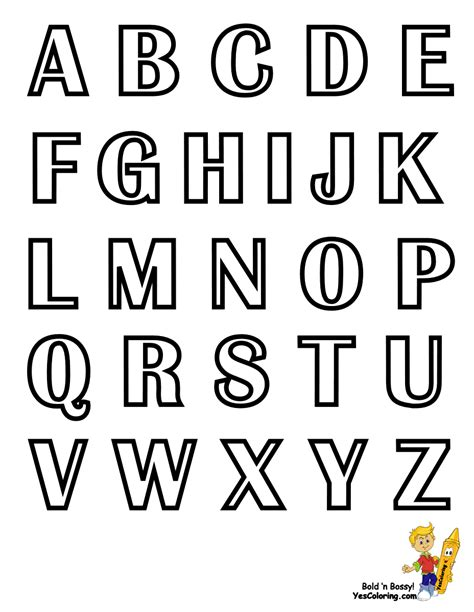 printable list of alphabet letters capital letters chart printable at yescoloring art