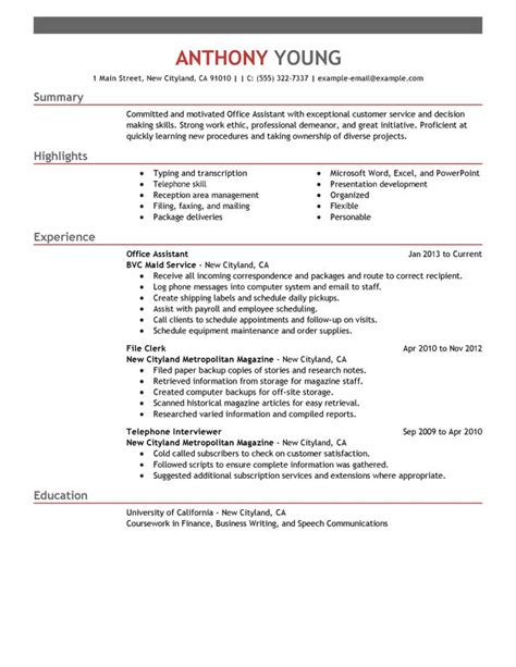 Office Professional Resume by Office Assistant Resume Exles Free To Try Today