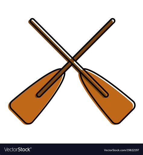 cartoon boat with oars two wooden crossed boat oars sport royalty free vector image