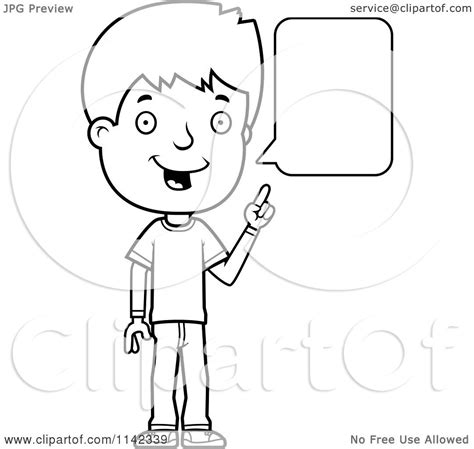 kid talking coloring page clipart of a black and white adolescent boy talking vector outlined coloring