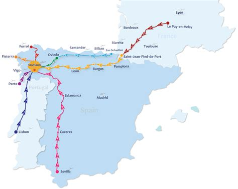 el camino pilgrimage map camino de santiago routes follow the camino