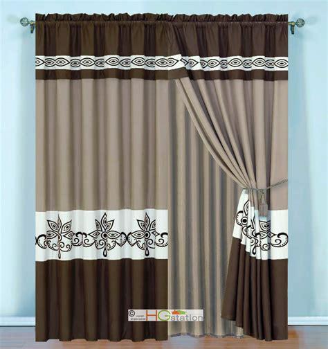 scroll curtains 4p striped felt scroll floral motif curtain set coffee