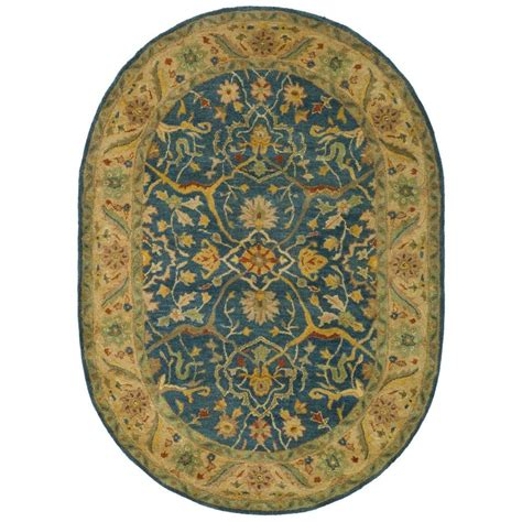blue oval rug safavieh antiquity blue 4 ft 6 in x 6 ft 6 in oval area rug at14e 5ov the home depot