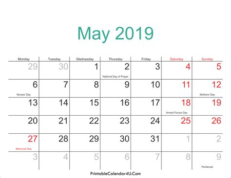 may 2019 calendar may 2019 calendar printable with holidays pdf and jpg